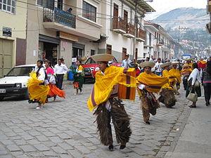 Fiesta de Toros parade in Girón, Azuay, Ecuador